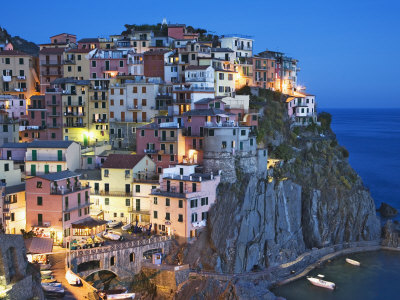 Dusk Falls on a Hillside Town Overlooking the Mediterranean Sea, Manarola, Cinque Terre, Italy Photographic Print
