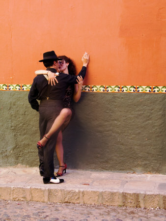 Tango Dancers in Streets of San Miguel De Allende, Mexico Photographic Print by Nancy Rotenberg