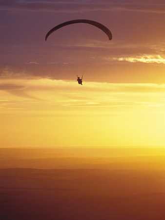 Hang Glider at Sunset, Palouse, Washington, USA Lámina fotográfica