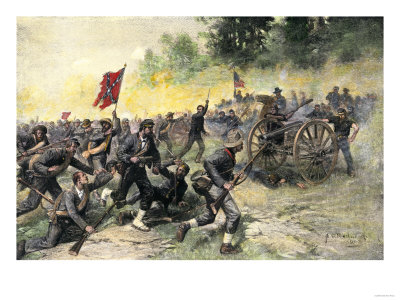 Confederate Charge Up Little Round Top, Battle of Gettysburg, c.1863 Premium Giclee Print