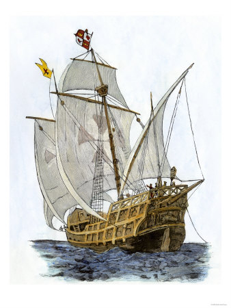 Caravel Santa Maria, the Flagship of Columbus' First Voyage Lámina giclée