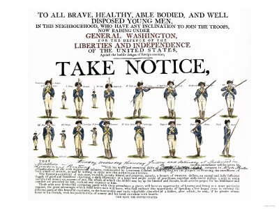 Recruitment Poster for Continental Soldiers to Serve in the American Revolution Premium Giclee Print
