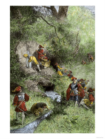 Juan Ponce de Leon's Expedition Searching for the Fountain of Youth in Florida, c.1500 Premium Giclee Print