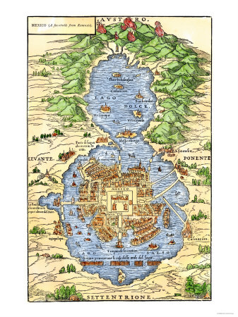 Tenochtitlan, Capital City of Aztec Mexico, an Island Connected by Causeways to Land, c.1520 Premium Giclee Print