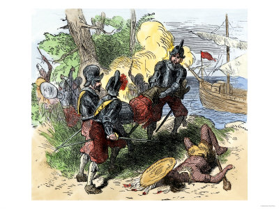 Juan Ponce de Leon, Wounded by Florida Natives, Carried Aboard Ship for Retreat to Cuba, c.1521 Premium Giclee Print
