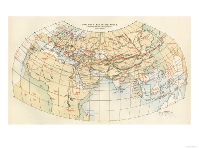 Ptolemy's Map of the World Shown in Red, True Locations in Black reproduction procédé giclée