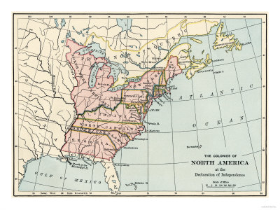 British North American Colonies in 1776 Giclée-Druck