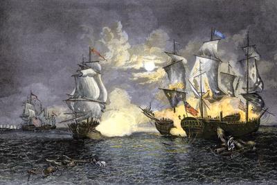 John Paul Jones's Ship, Bon Homme Richard, Defeating the British Serapis, c.1779 Premium Giclee Print