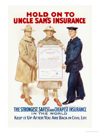 Hold on to Uncle Sam's Insurance Poster by James Montgomery Flagg