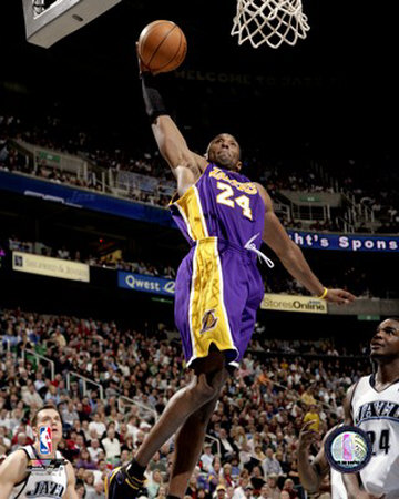 La Lakers vs Utah Jazz - Kobe Bryant Dunking Action Highlight sports basketball photo poster