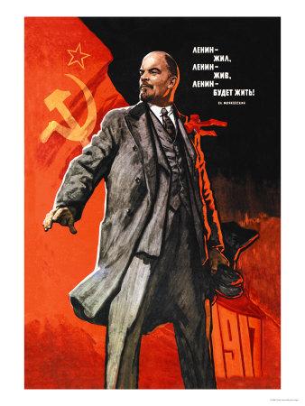 Lenin levede, Lenin lever, Lenin vil leve, på russisk Poster af Victor Ivanov