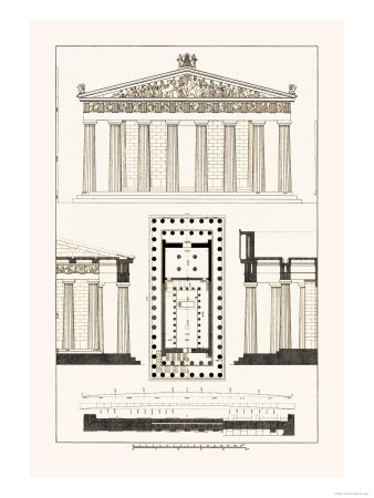 The Parthenon at Athens Posters af J. Buhlmann