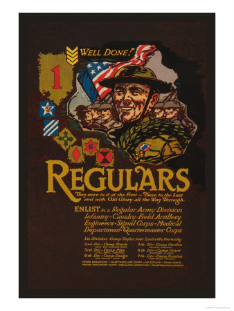 Enlist in the Regular Army Division Prints by John W. Sheeres
