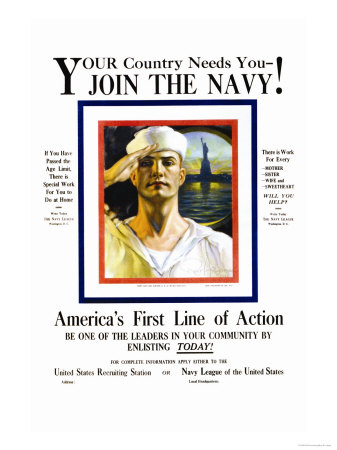 Join the Navy, Your country Needs You, c.1916 Premium Poster