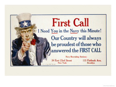 First Call, I Need You in the Navy, c.1917 Prints by James Montgomery Flagg