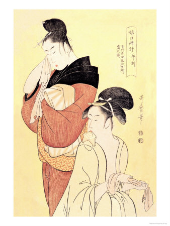 Midday Bath Preparations: The Hour of the Horse Posters by Kitagawa Utamaro