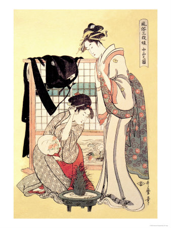 Middle Class Mother and Daughter Print by Kitagawa Utamaro