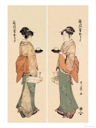 Tea House Girl Prints by Kitagawa Utamaro