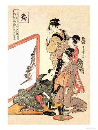 Painting at Home Prints by Kitagawa Utamaro