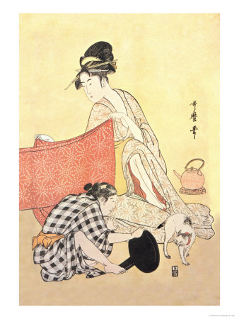 Two Women and a Cat Prints by Kitagawa Utamaro