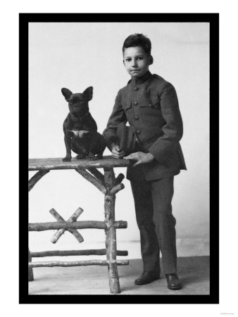Boy with French Bulldog Poster
