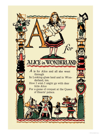 A for Alice in Wonderland Posters by Tony Sarge