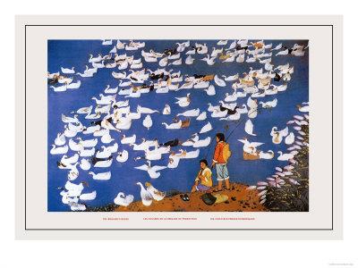 The Brigade's Ducks Print by Li Chen-hua