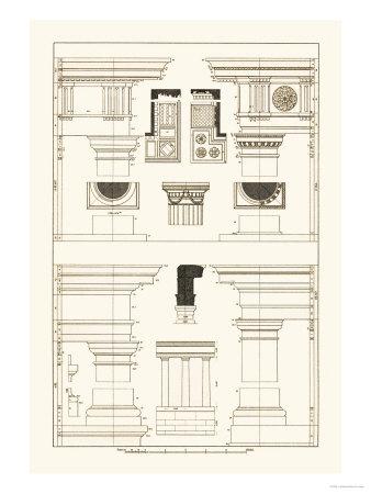 Doric, Tuscan Orders and Columns Print by J. Buhlmann