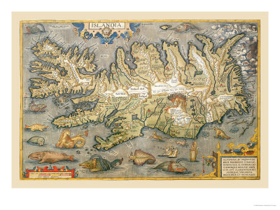 Map of Iceland Prints by Abraham Ortelius