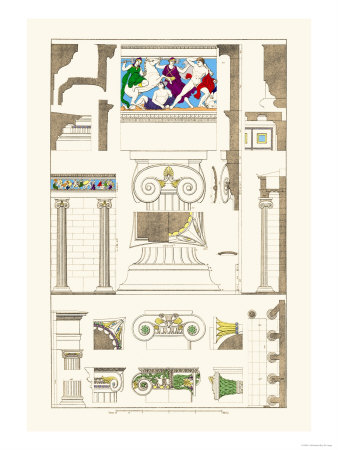 Ionic Orders and Capitals, Polychrome Posters by J. Buhlmann