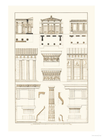 Doric Order, Temple of Zeus and Cased Column Art by J. Buhlmann