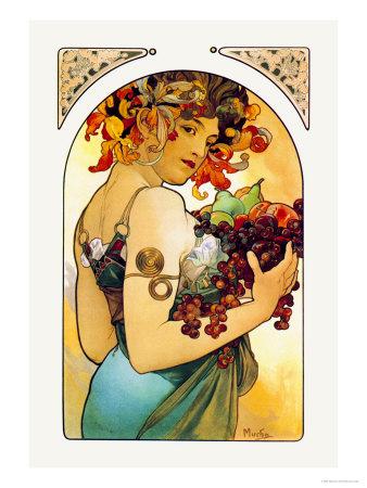 Fruit Poster by Alphonse Mucha