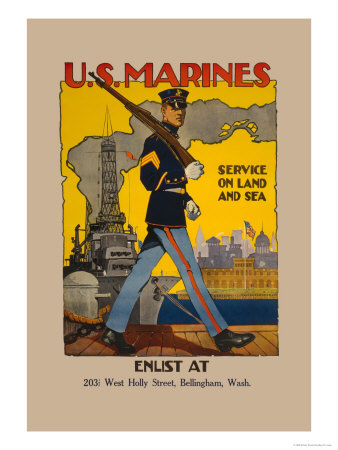 Active Service on Land and Sea Print by Sidney Riesenberg
