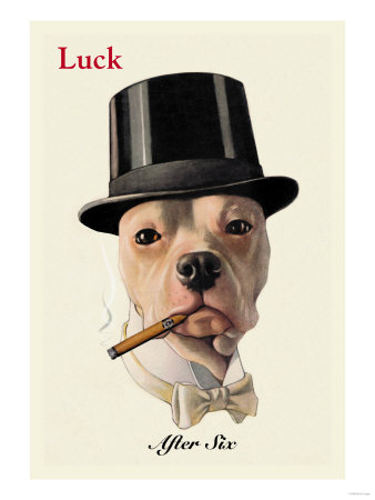 Dog in Top Hat Smoking a Cigar Premium Poster