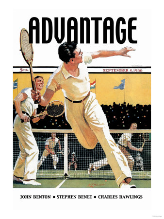 Men Play Tennis Premium Poster