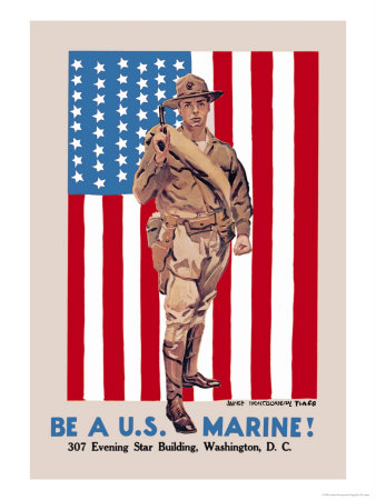 Be a U.S. Marine, Evening Star Building Poster by James Montgomery Flagg