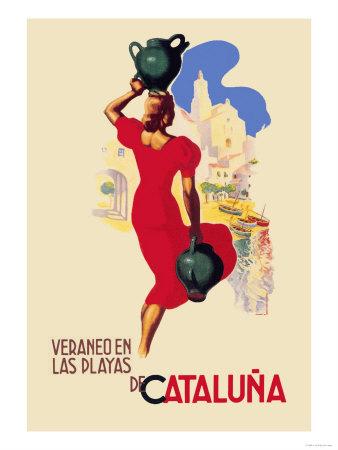 Veraneo En las Playas de Cataluna Premium Poster