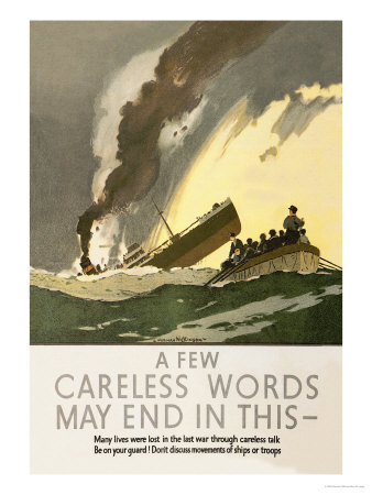 Few Careless Words May End in This Poster by Norman Wilkinson