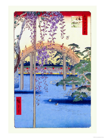 Grounds of the Kameido Tenjin Shrine Premium Poster