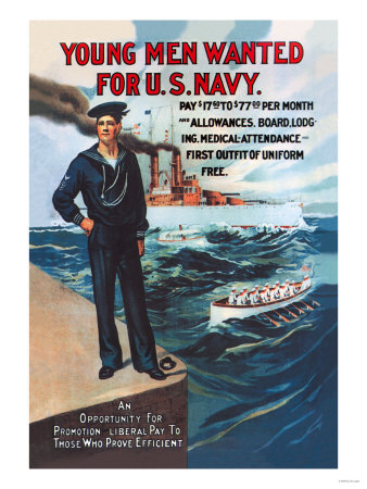 Young Men Wanted for U.S. Navy Posters