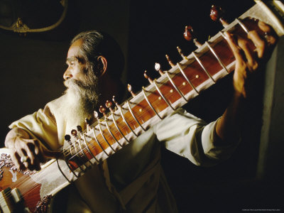 Portrait of an Elderly Man Playing the Sitar, India Photographic Print by John Henry Claude Wilson
