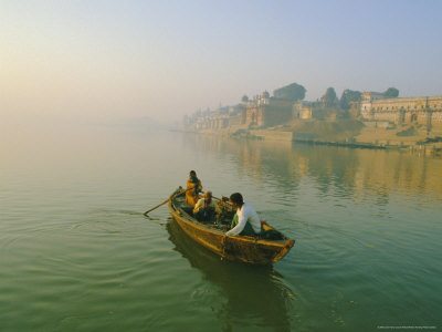 Waterfront and Boat on the River Ganges (Ganga), Varanasi (Benares), Uttar Pradesh State, India Photographic Print by John Henry Claude Wilson