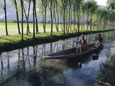 Paddy Fields and Waterway with Local Boat, Kashmir, India Photographic Print by John Henry Claude Wilson