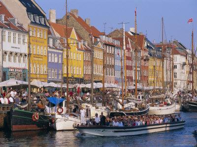 Restaurants and Bars in the Nyhavn Waterfront Area, Copenhagen, Denmark, Scandinavia, Europe Photographic Print by Gavin Hellier