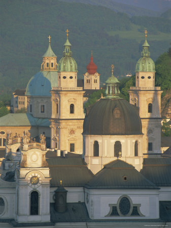 Elevated View of Kollegienkirche and Cathedral Domes, Salzburg, Unesco World Heritage Site, Austria Photographic Print by Gavin Hellier