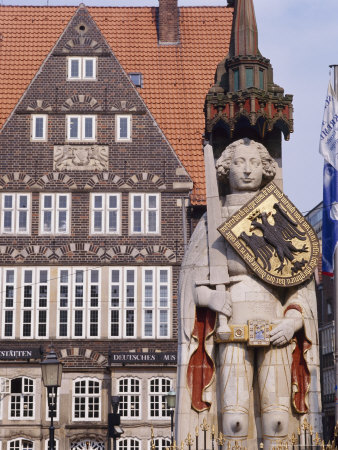 Statue and Architecture of the Main Square, Bremen, Germany. Photographic Print by R Richardson R Richardson