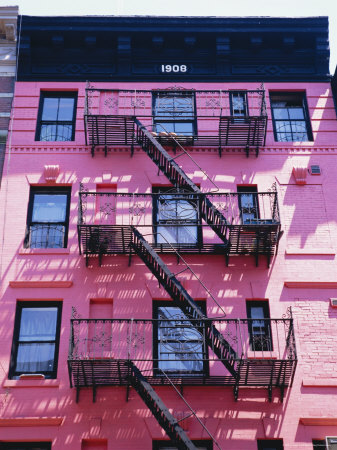Pink Facade and Stairs in Soho, New York, New York State, USA Photographic Print by I Vanderharst