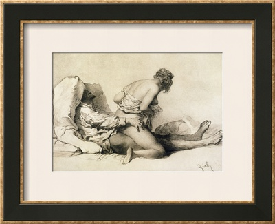 "A Man and Woman Making Love, Plate I of ""Liebe,"" 1901 Framed Giclee Print by Mihaly von Zichy"