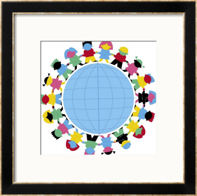 Children Holding Hands Around Globe Framed Giclee Print