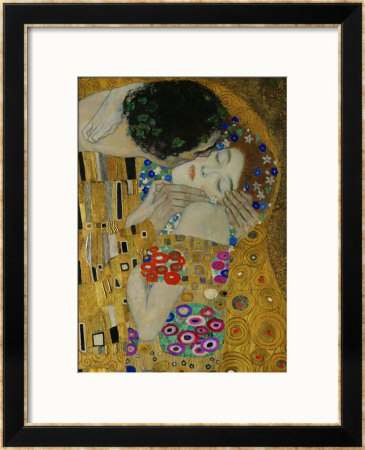 The Kiss, Der Kuss, Close-Up of Heads Framed Giclee Print by Gustav Klimt